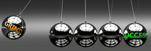 Grind And Success - The Idea That Grind Helps To Achieve Success And Happiness In Business, Work And Life Symbolized By English Word Grind And A Newton Cradle, 3d Illustration