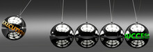 Execution And Success - The Idea That Execution Helps To Achieve Success And Happiness In Business, Work And Life Symbolized By English Word Execution And A Newton Cradle, 3d Illustration