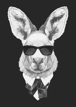Portrait Of Kangaroo In Suit. Hand-drawn Illustration. Vector Isolated Elements.