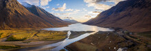 Aerial Panorama Of Glen Etive And Loch Etive In The Argyll Region Of The Highlands Of Scotland During Autumn And A Golden Sunset