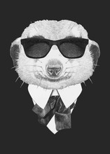 Portrait Of Meerkat In Suit. Hand-drawn Illustration. Vector Isolated Elements.