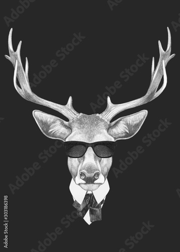 Portrait of Deer in suit. Hand-drawn illustration. Vector isolated elements. Wall mural