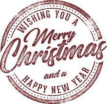Merry Christmas And Happy New Year Holiday Card Design Element