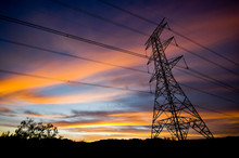 Power Pylon At Sunset 2840Power Pylons And Electricity Transmission Wires With Clouds At Sunset
