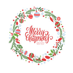 Christmas wreath with berries, spruce branches, leaves and snowflakes on white background. Hand drawn circle frame. Perfect for holiday greeting cards