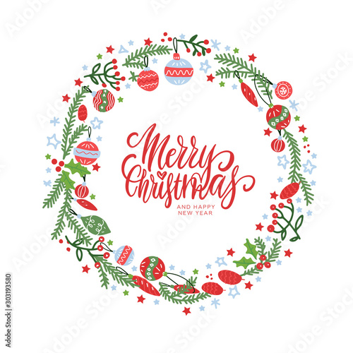 Canvastavla  Christmas wreath with berries, spruce branches, leaves and snowflakes on white background