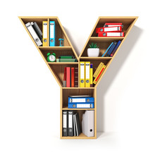 Letter Y. Alphabet In The Form Of Shelves With File Folder, Binders And Books Isolated On White. Archival, Stacks Of Documents At The Office Or Library.