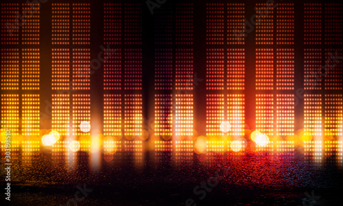 Background of empty stage show. Neon light and laser show. Laser futuristic shapes on a dark background. Abstract dark background with neon glow - 303198510