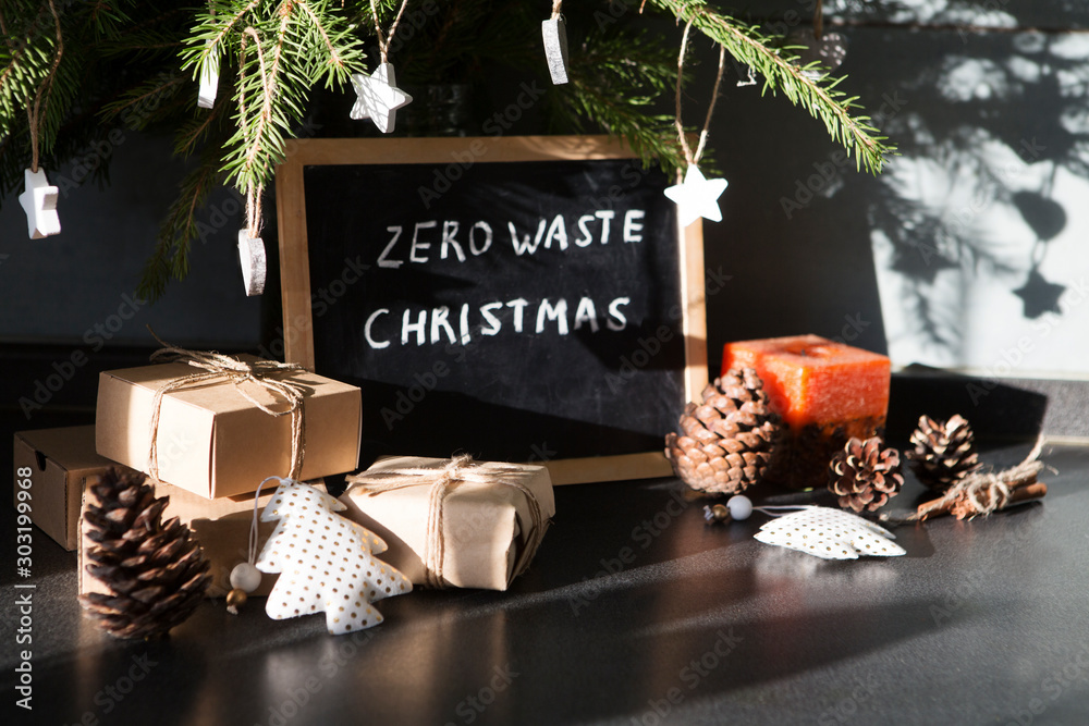 Fototapety, obrazy: Zero waste, eco friendly Christmas, crafted gifts, natural Christmas decorations, pine branches on a table.   eco friendly.