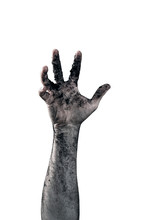 Zombie Hand Dirty With Soil Isolated On White Background