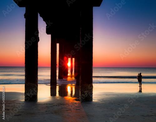 Valokuvatapetti Sunrise at St. John's Pier, St. Augustine, Florida.