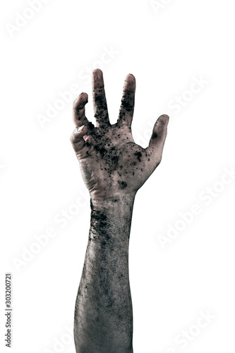 Photo Zombie hand dirty with soil isolated on white background
