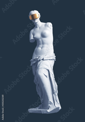 Photo 3D Model Aphrodite With Golden VR Glasses On Blue Background