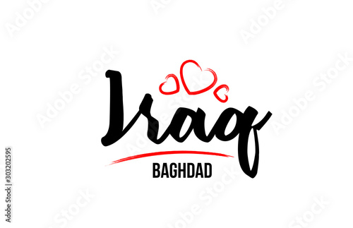 Iraq country with red love heart and its capital Baghdad creative typography log Tablou Canvas