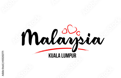 Photo  Malaysia country with red love heart and its capital Kuala Lumpur creative typog