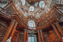 Books On The Bookshelf At Prunksaal Inside Imperial National Library I Vienna, Austria
