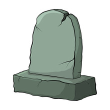 Tombstone Old Empty Broken Cartoon Grave For Burial Isolate On White Background
