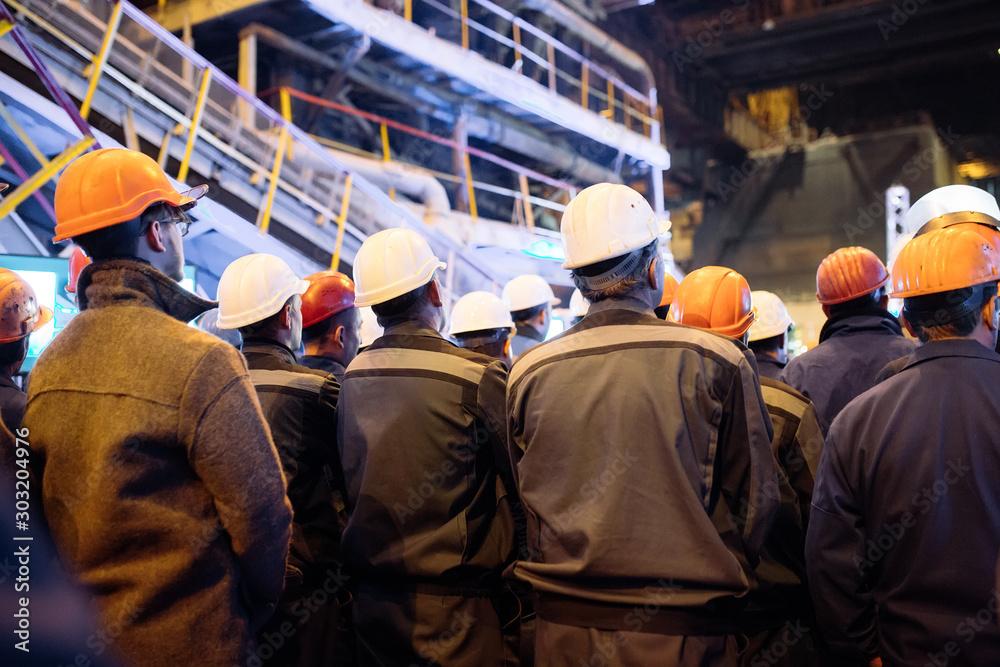 Fototapeta Strike of workers in heavy industry.