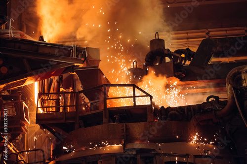 Cuadros en Lienzo  Melting of metal in a steel plant