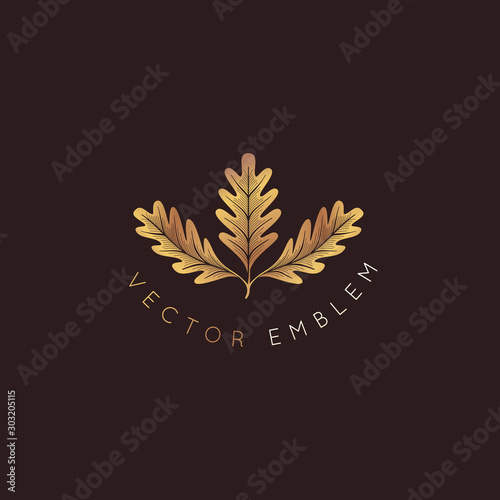 Vector logo design template with oak leaf - abstract emblem and symbol Wallpaper Mural