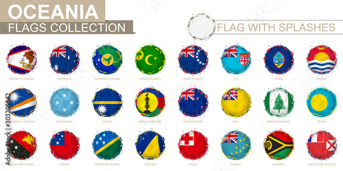 Flag collection of Oceania, round grunge flag with splashes. Wallpaper Mural