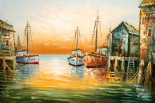 Colorful Fisherman Boats And Shacks In Harbor Oil Painting