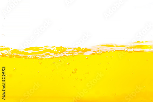 Orange water splash , Orange  Water Surface Splash and bubbles on white background. - 303207903