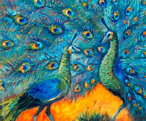 artystyczny-obraz-olejny-javanese-zielony-paw