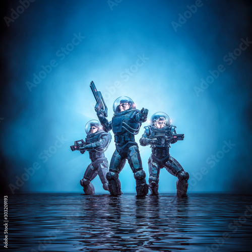 Search party patrol / 3D illustration of science fiction scene showing heroic sp Canvas Print