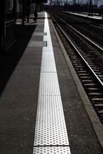 Close Up Shot Of A Train Platform
