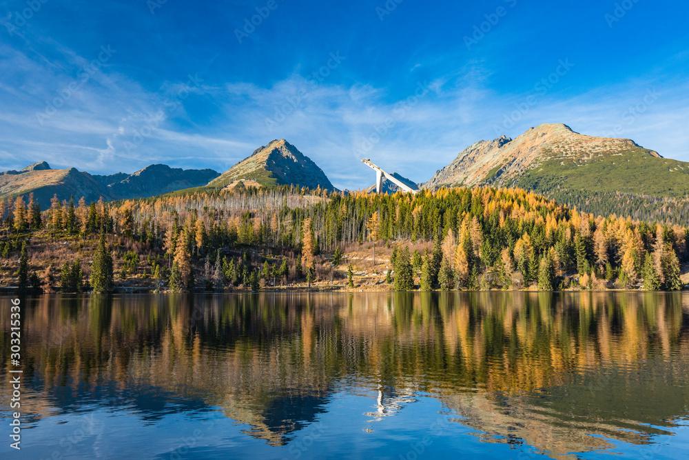 Fototapety, obrazy: Mountain lake Strbske pleso in National Park High Tatra, Slovakia, Europe