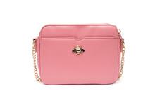 Pink Fashion Purse Handbag On White Background Isolated