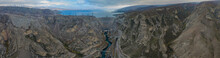 Aerial Panorama Of Dam Of Chirkey Hydroelectric Power Plant In Dagestan, Russia