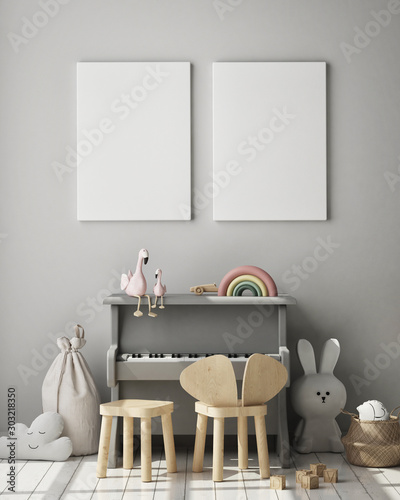 Obraz mock up poster frame in children's bedroom, Scandinavian style interior background, 3D render, 3D illustration - fototapety do salonu