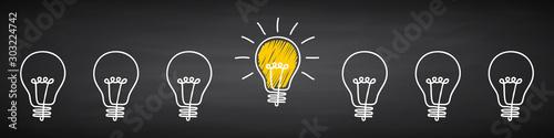 Obraz Banner lightbulb idea concept, creative concept bulb sign drawn in chalk on a blackboard, innovations background - vector - fototapety do salonu