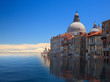 canvas print picture - Concept image of a flooded Santa Maria Salute church in Venice as sea level rise makes the city uninhabitable