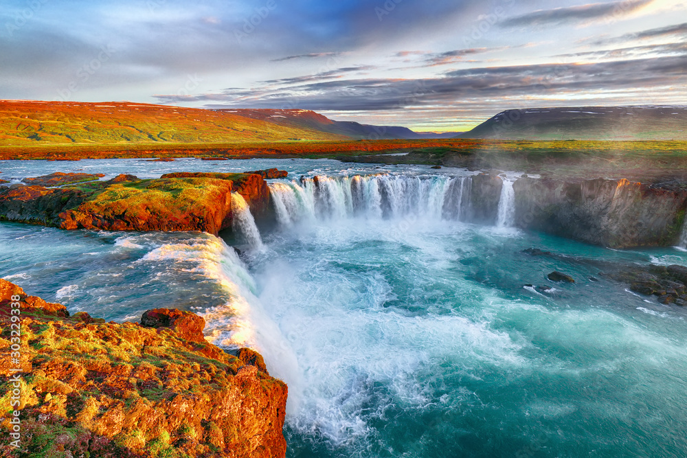 Fototapety, obrazy: Fantastic sunrise scene of powerful Godafoss waterfall.