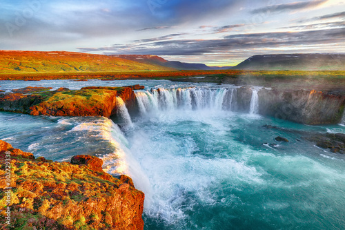 Foto auf Leinwand Frühling Fantastic sunrise scene of powerful Godafoss waterfall.