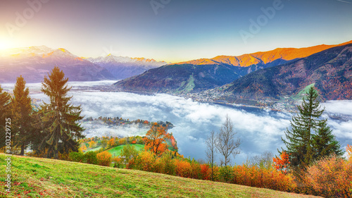 Obraz Spectacular autumn view of lake meadows trees and mountains in Sell Am See - fototapety do salonu