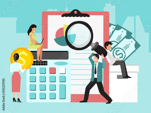 Business finance audit vector illustration. Systematic independent auditors examination. Businessmans auditing, financial analysis and optimisation work