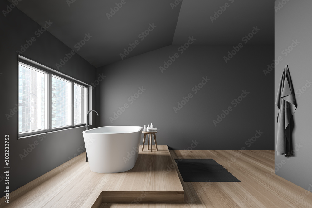 Fototapety, obrazy: Side view of gray bathroom with tub