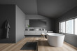 canvas print picture - Side view of gray bathroom with tub and sink