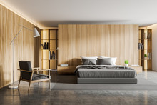 Wooden Bedroom Interior With A...