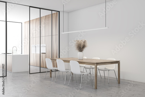 fototapeta na drzwi i meble White dining room and kitchen corner