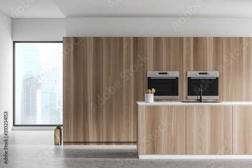 Poster Pays d Europe Kitchen with wooden island and two ovens
