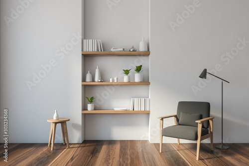 Fotografie, Obraz White living room with armchair and shelves