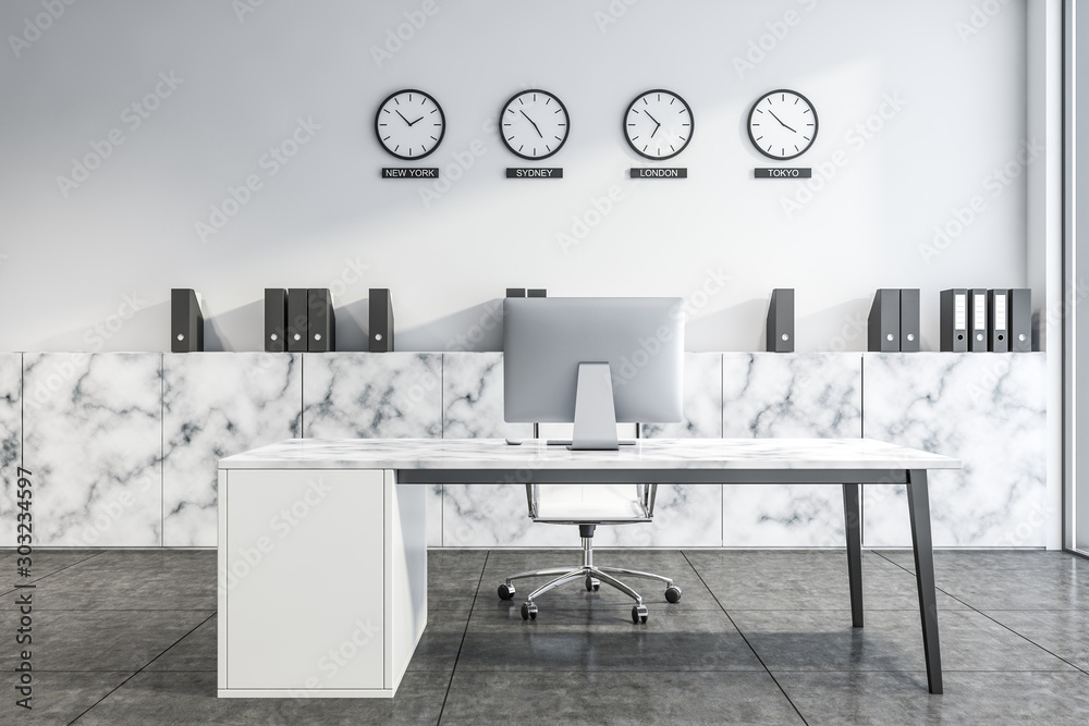 Fototapeta White marble CEO office with clocks