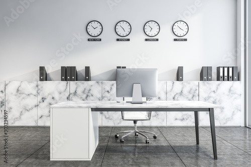 Photo  White marble CEO office with clocks