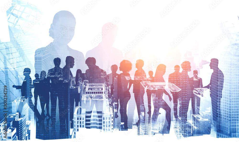 Fototapeta Diverse business team in modern city