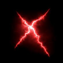 Red Lightning Cross Over Black Background